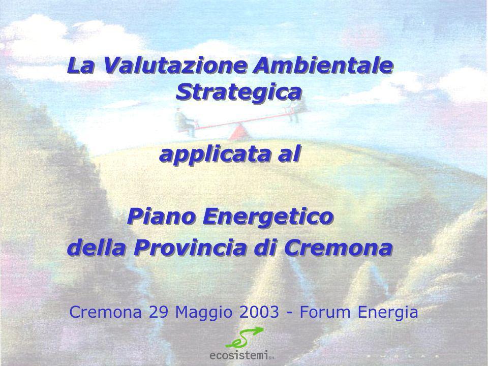 Cremona 29 Maggio 2003 - Forum Energia La Valutazione Ambientale Strategica applicata al Piano Energetico della Provincia di Cremona La Valutazione Ambientale Strategica applicata al Piano Energetico della Provincia di Cremona