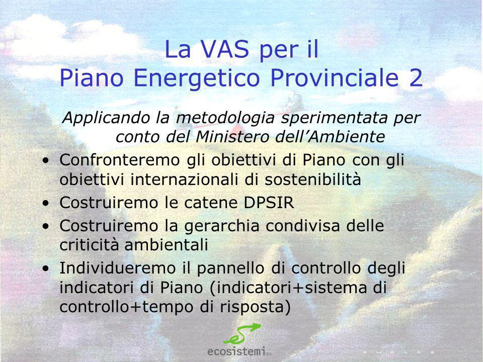 La VAS per il Piano Energetico Provinciale 2 Applicando la metodologia sperimentata per conto del Ministero dellAmbiente Confronteremo gli obiettivi di Piano con gli obiettivi internazionali di sostenibilità Costruiremo le catene DPSIR Costruiremo la gerarchia condivisa delle criticità ambientali Individueremo il pannello di controllo degli indicatori di Piano (indicatori+sistema di controllo+tempo di risposta)