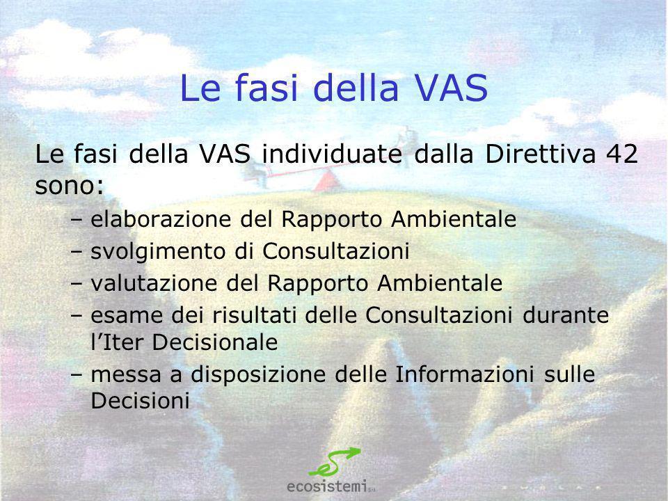 LA VAS e il Rapporto Ambientale Nel processo di VAS il Rapporto Ambientale deve essere un prodotto frutto della condivisione con gli amministratori e le parti interessate coinvolte, che partecipano ai lavori