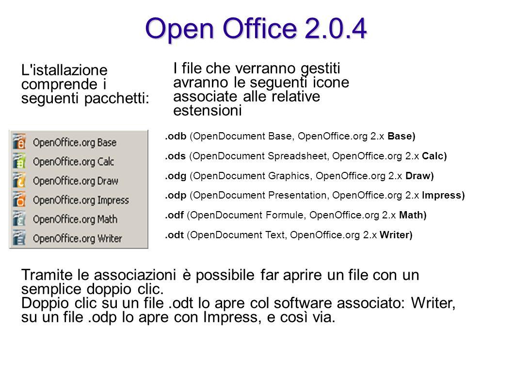 Open Office 2.0.4 L'istallazione comprende i seguenti pacchetti: I file che verranno gestiti avranno le seguenti icone associate alle relative estensi