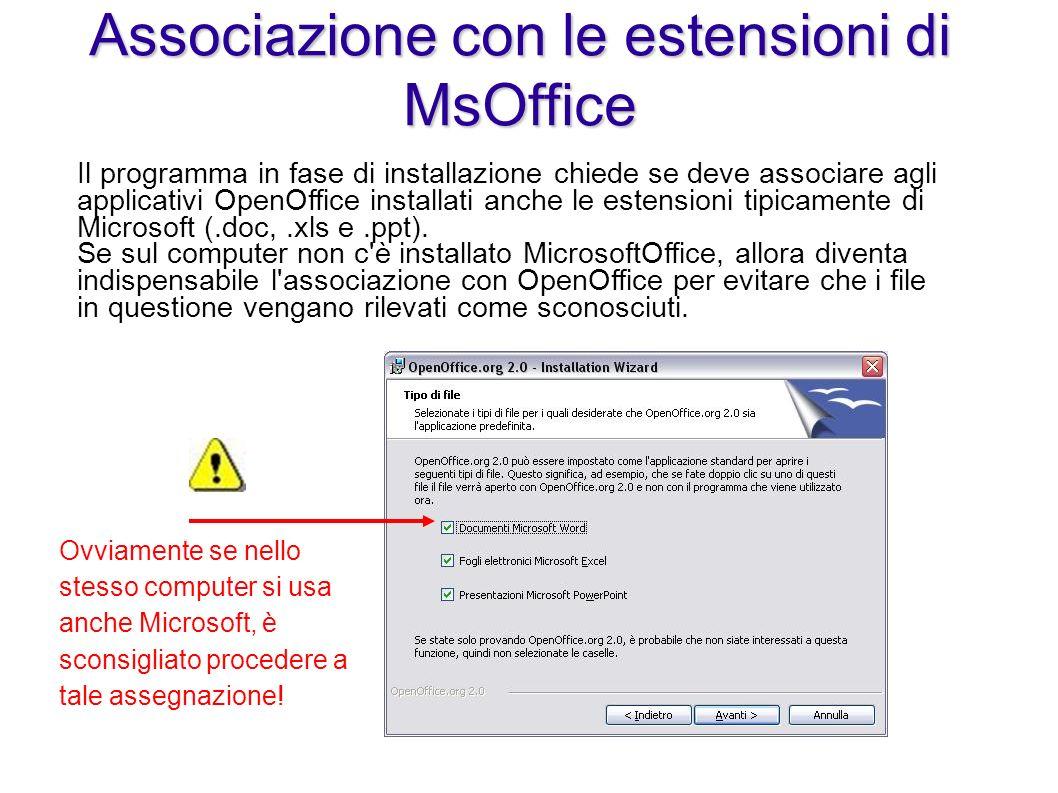 Ovviamente se nello stesso computer si usa anche Microsoft, è sconsigliato procedere a tale assegnazione! Associazione con le estensioni di MsOffice I