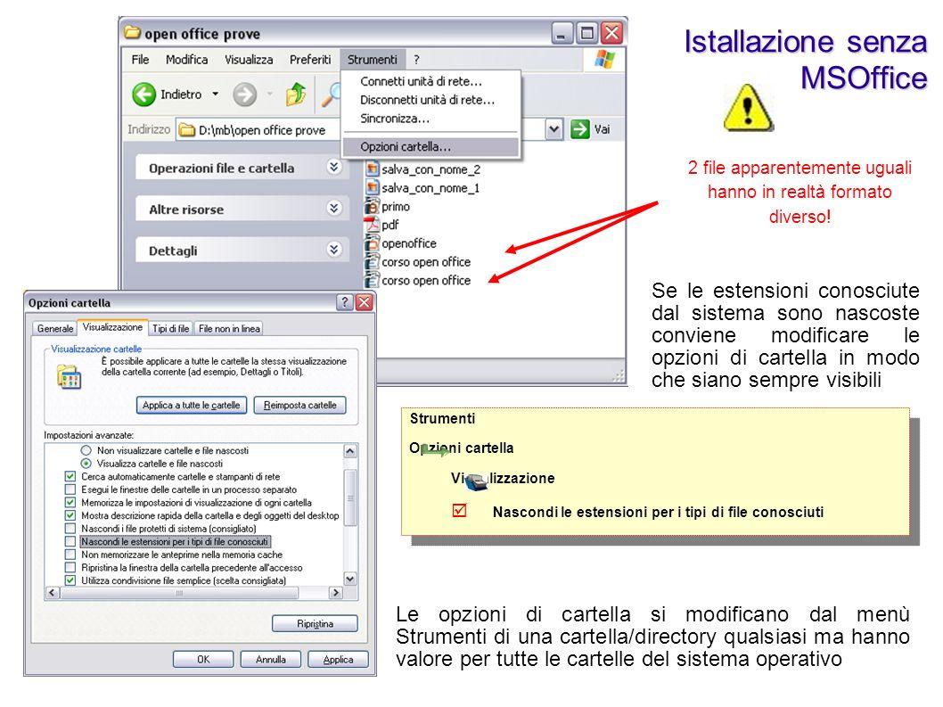 Se gli elaborati creati con OpenOffice devono essere utilizzati anche con MicrosoftOffice è necessario ricordarsi di specificare il tipo di file nella finestra salva con nome.