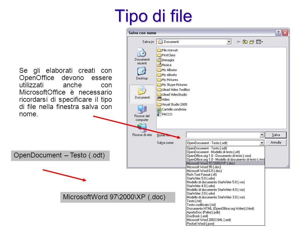 Strumenti Opzioni Carica/salva Generale Strumenti Opzioni Carica/salva Generale E possibile configurare OpenOffice in modo che salvi automaticamente in un formato indicato tra quelli compatibili Opzioni Carica/Salva