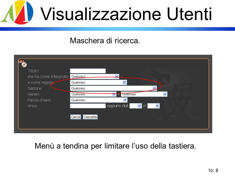Nr. 8 Visualizzazione Utenti Maschera di ricerca. Menù a tendina per limitare luso della tastiera.