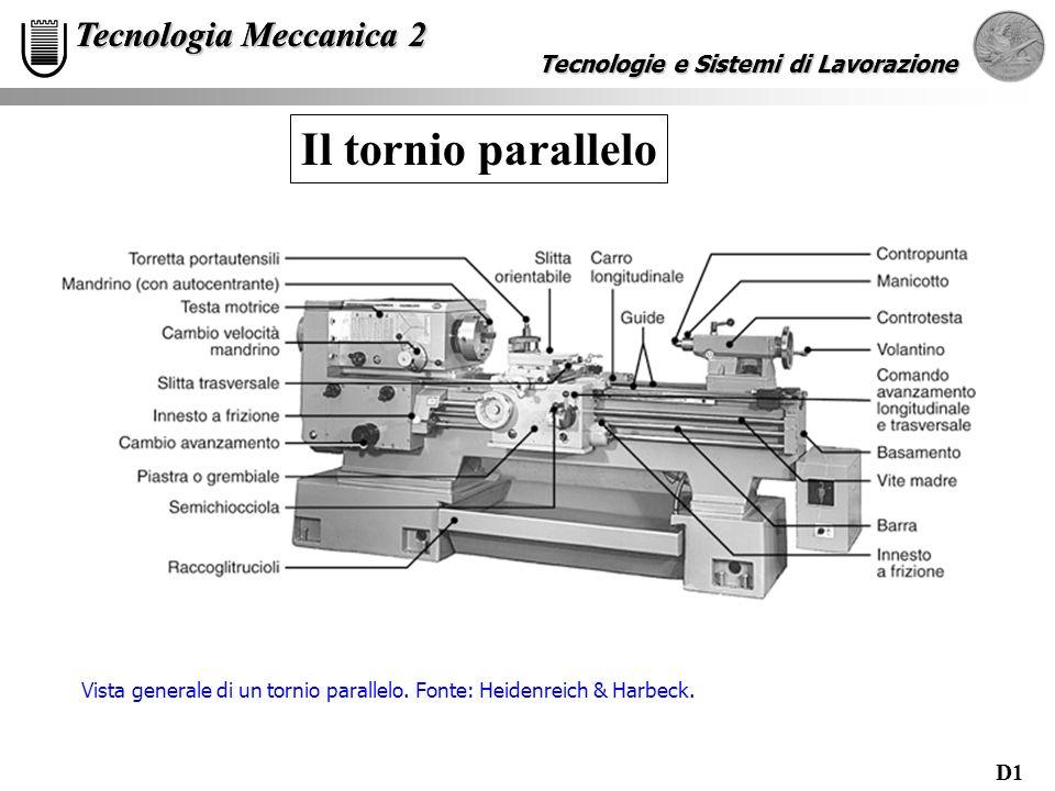 D1 Tecnologie e Sistemi di Lavorazione Tecnologia Meccanica 2 Tecnologie e Sistemi di Lavorazione Tecnologia Meccanica 2 Il tornio parallelo Vista gen