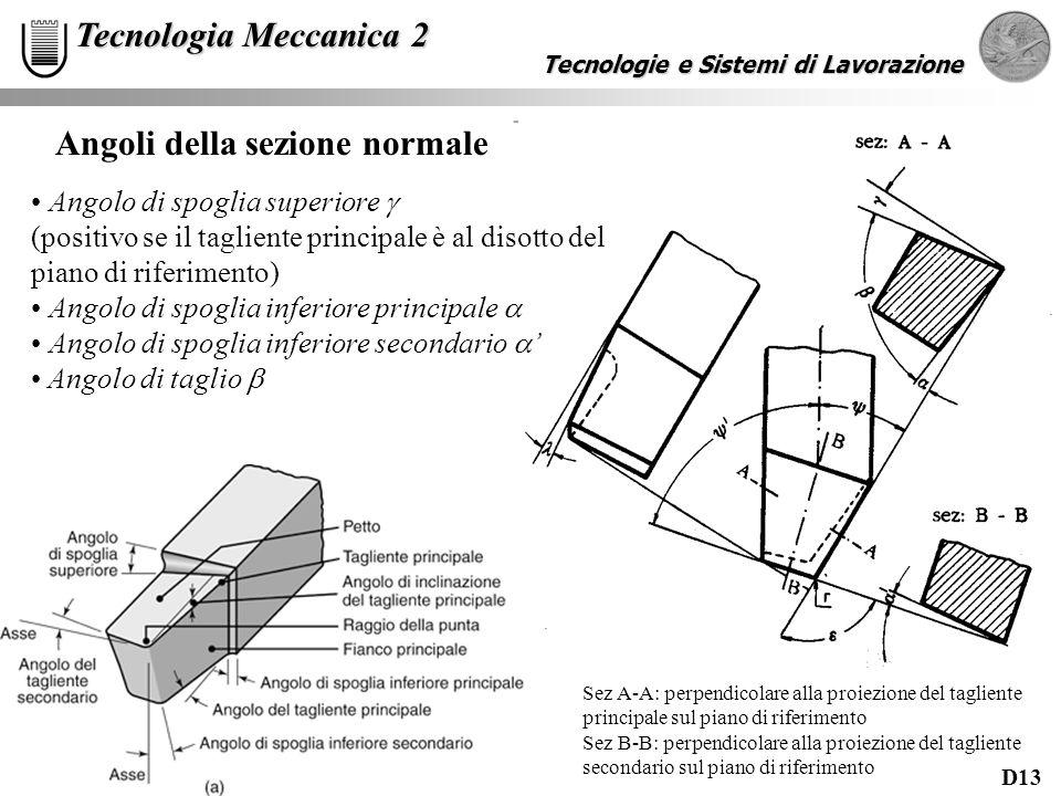 D13 Tecnologie e Sistemi di Lavorazione Tecnologia Meccanica 2 Angoli della sezione normale Angolo di spoglia superiore (positivo se il tagliente prin