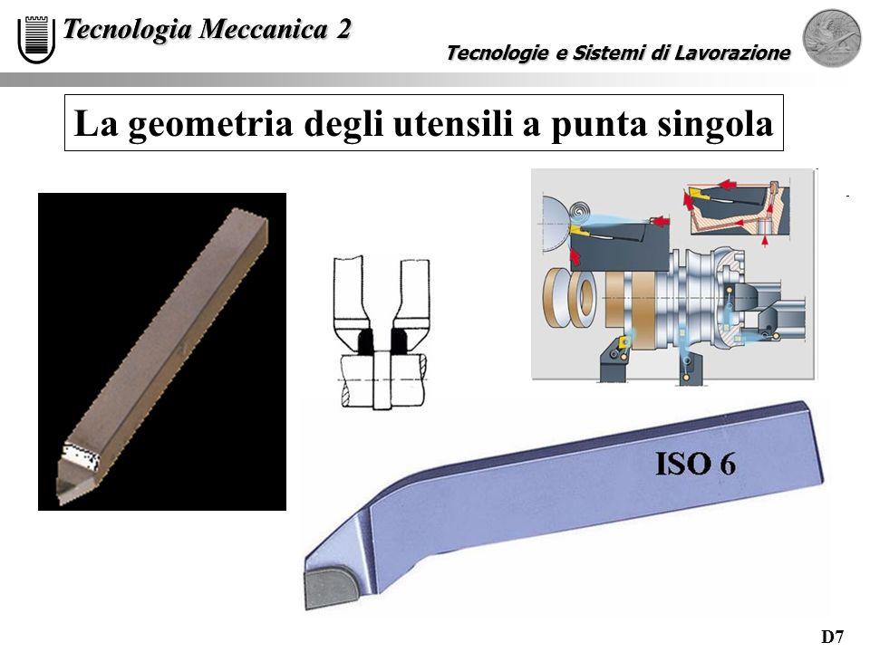 D7 Tecnologie e Sistemi di Lavorazione Tecnologia Meccanica 2 Tecnologie e Sistemi di Lavorazione Tecnologia Meccanica 2 La geometria degli utensili a