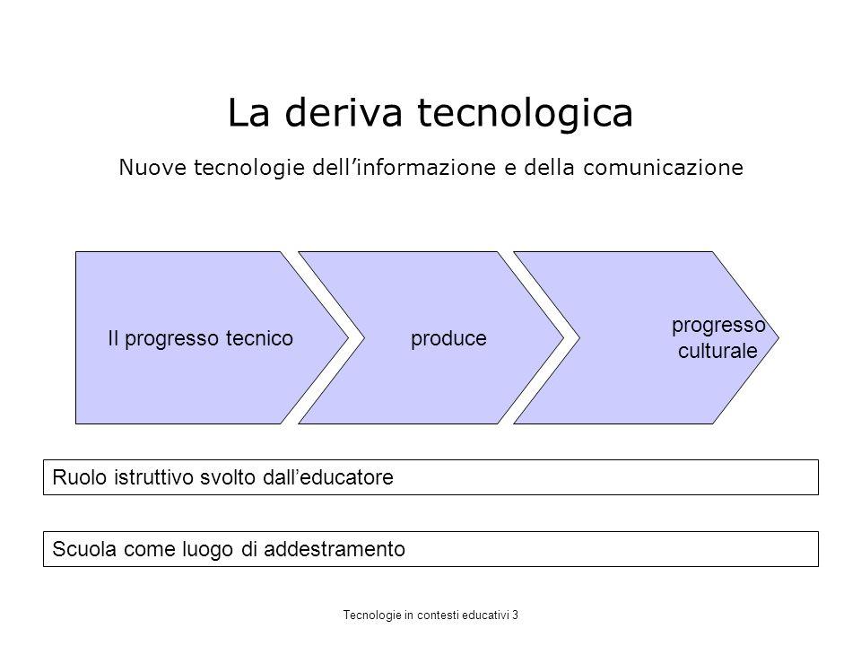 La deriva tecnologica Il progresso tecnico produce progresso culturale Ruolo istruttivo svolto dalleducatore Scuola come luogo di addestramento Nuove tecnologie dellinformazione e della comunicazione Tecnologie in contesti educativi 3