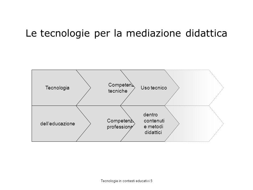 Le tecnologie per la mediazione didattica Tecnologia delleducazione Competenze tecniche Competenze professionali Uso tecnico dentro contenuti e metodi didattici Tecnologie in contesti educativi 5