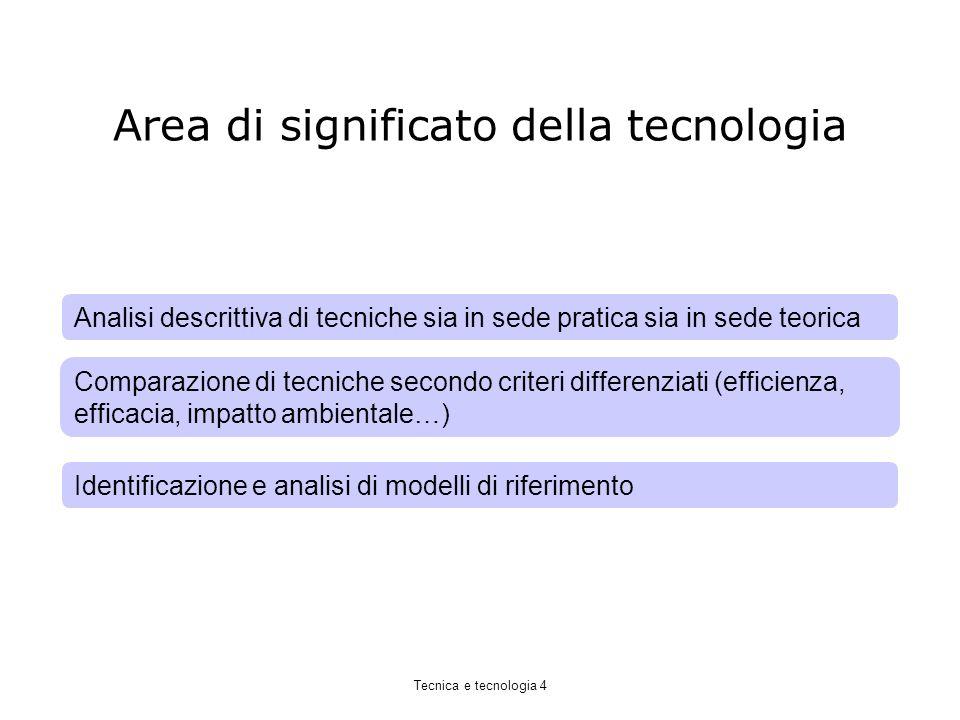 Area di significato della tecnologia Identificazione e analisi di modelli di riferimento Comparazione di tecniche secondo criteri differenziati (efficienza, efficacia, impatto ambientale…) Analisi descrittiva di tecniche sia in sede pratica sia in sede teorica Tecnica e tecnologia 4