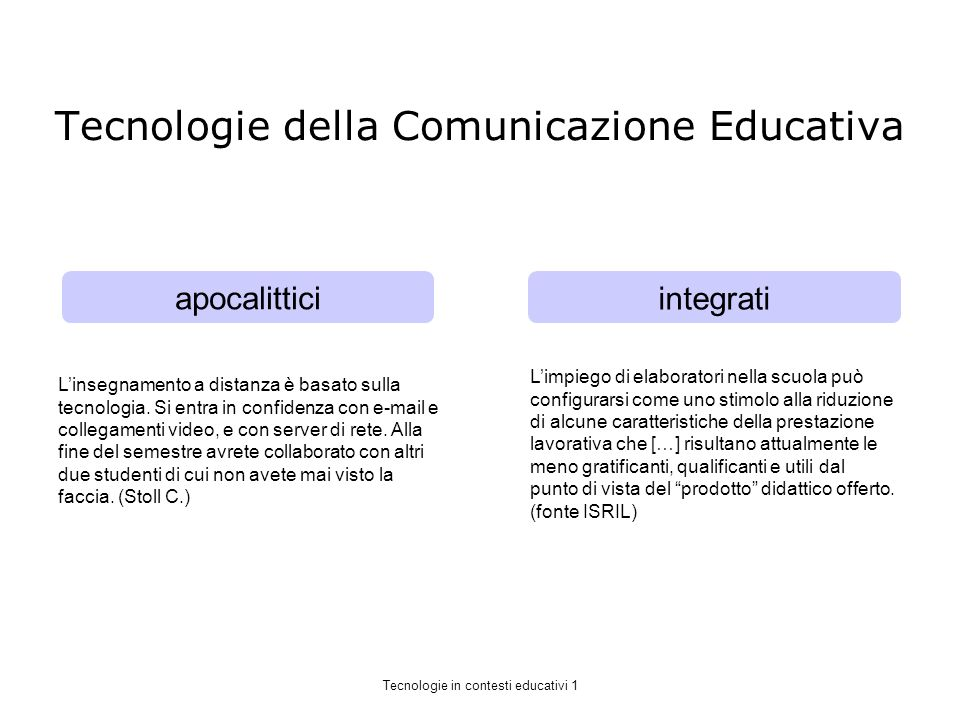 Tecnologie della Comunicazione Educativa apocalittici integrati Linsegnamento a distanza è basato sulla tecnologia.