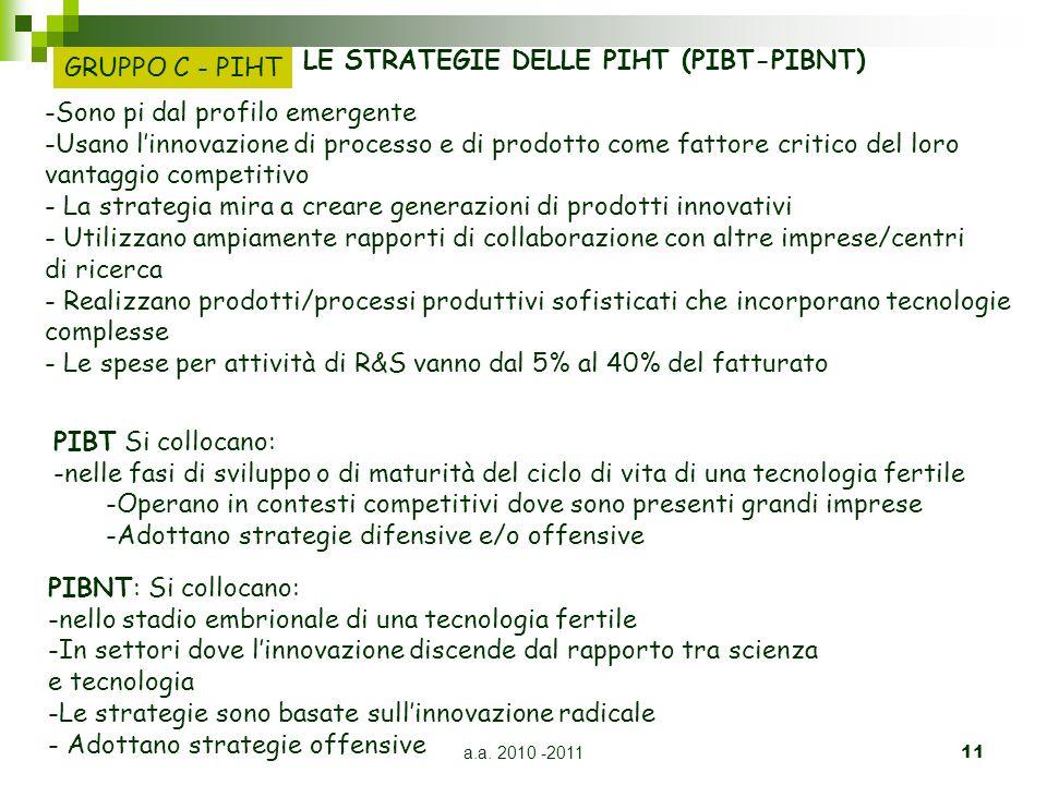 a.a. 2010 -201111 LE STRATEGIE DELLE PIHT (PIBT-PIBNT) -Sono pi dal profilo emergente -Usano linnovazione di processo e di prodotto come fattore criti