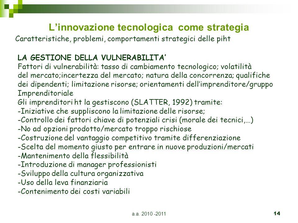 a.a. 2010 -201114 Linnovazione tecnologica come strategia Caratteristiche, problemi, comportamenti strategici delle piht LA GESTIONE DELLA VULNERABILI