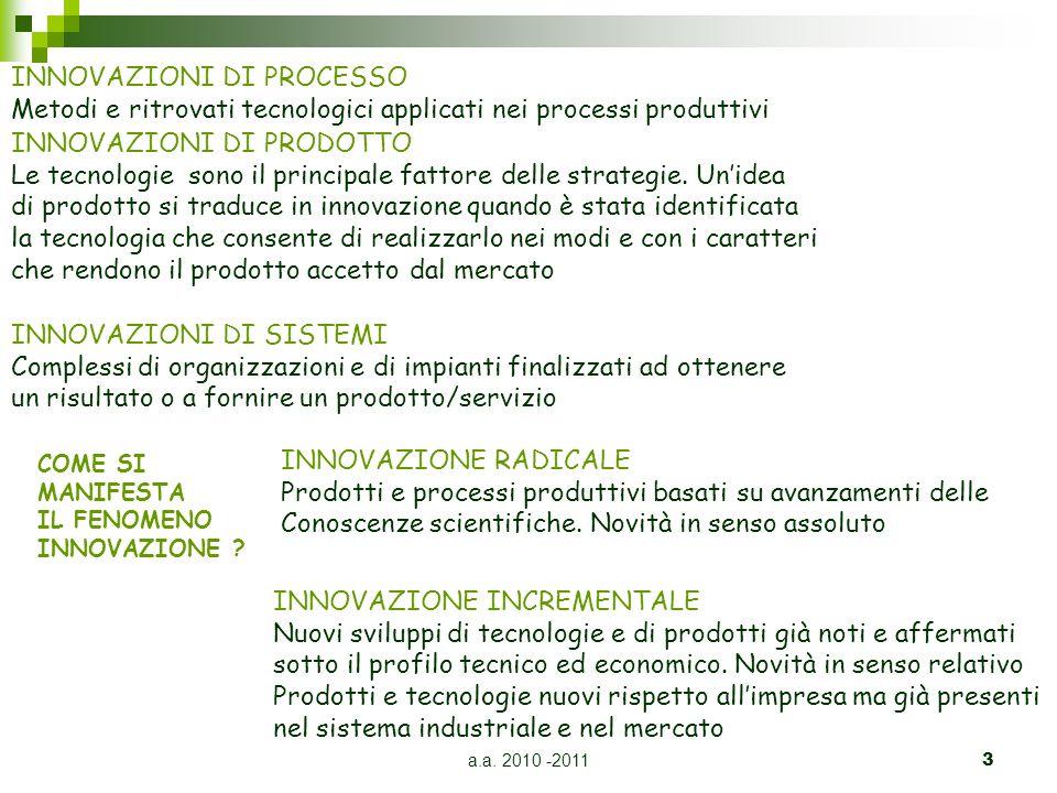 a.a. 2010 -20113 INNOVAZIONI DI PROCESSO Metodi e ritrovati tecnologici applicati nei processi produttivi INNOVAZIONI DI PRODOTTO Le tecnologie sono i
