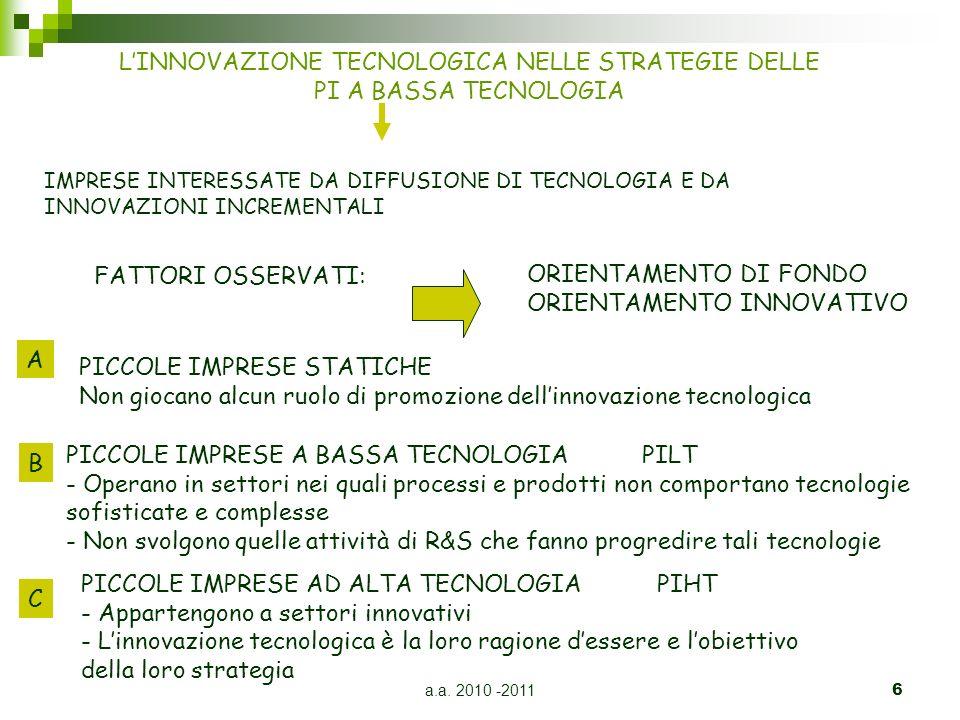 a.a. 2010 -20116 LINNOVAZIONE TECNOLOGICA NELLE STRATEGIE DELLE PI A BASSA TECNOLOGIA IMPRESE INTERESSATE DA DIFFUSIONE DI TECNOLOGIA E DA INNOVAZIONI