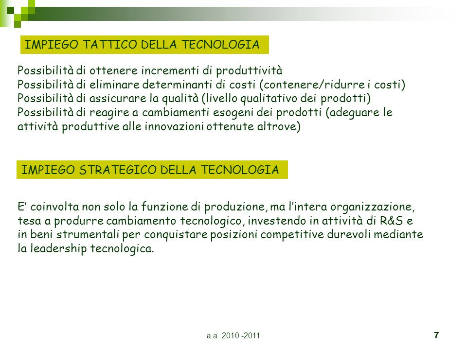 a.a. 2010 -20117 IMPIEGO TATTICO DELLA TECNOLOGIA IMPIEGO STRATEGICO DELLA TECNOLOGIA Possibilità di ottenere incrementi di produttività Possibilità d