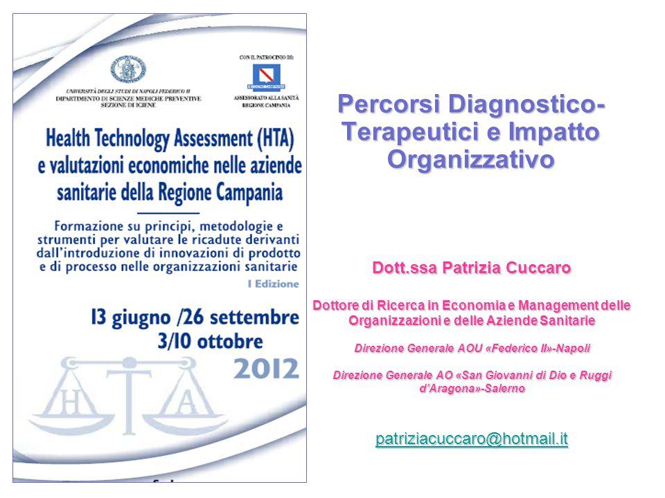 Percorsi Diagnostico- Terapeutici e Impatto Organizzativo Dott.ssa Patrizia Cuccaro Dottore di Ricerca in Economia e Management delle Organizzazioni e