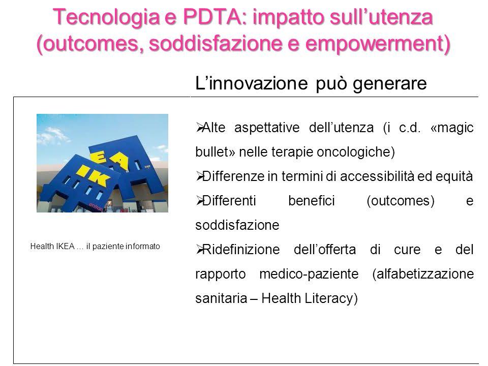 Tecnologia e PDTA: impatto sullutenza (outcomes, soddisfazione e empowerment) Linnovazione può generare Alte aspettative dellutenza (i c.d. «magic bul