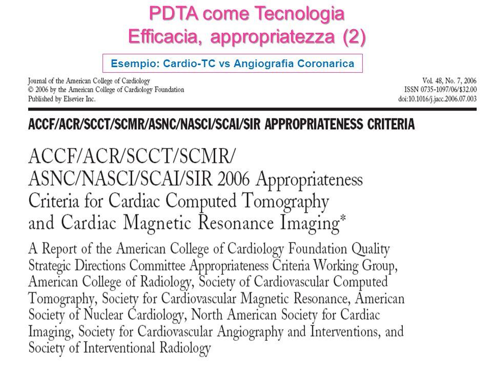PDTA come Tecnologia Efficacia, appropriatezza (2) Esempio: Cardio-TC vs Angiografia Coronarica