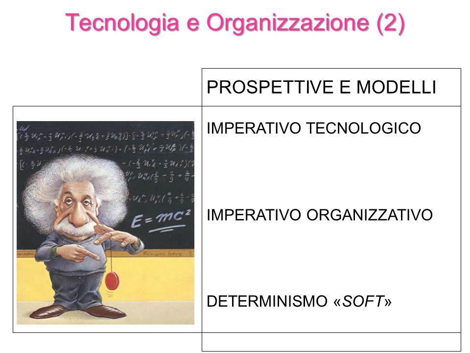 PROSPETTIVE E MODELLI IMPERATIVO TECNOLOGICO IMPERATIVO ORGANIZZATIVO DETERMINISMO «SOFT» Tecnologia e Organizzazione (2)