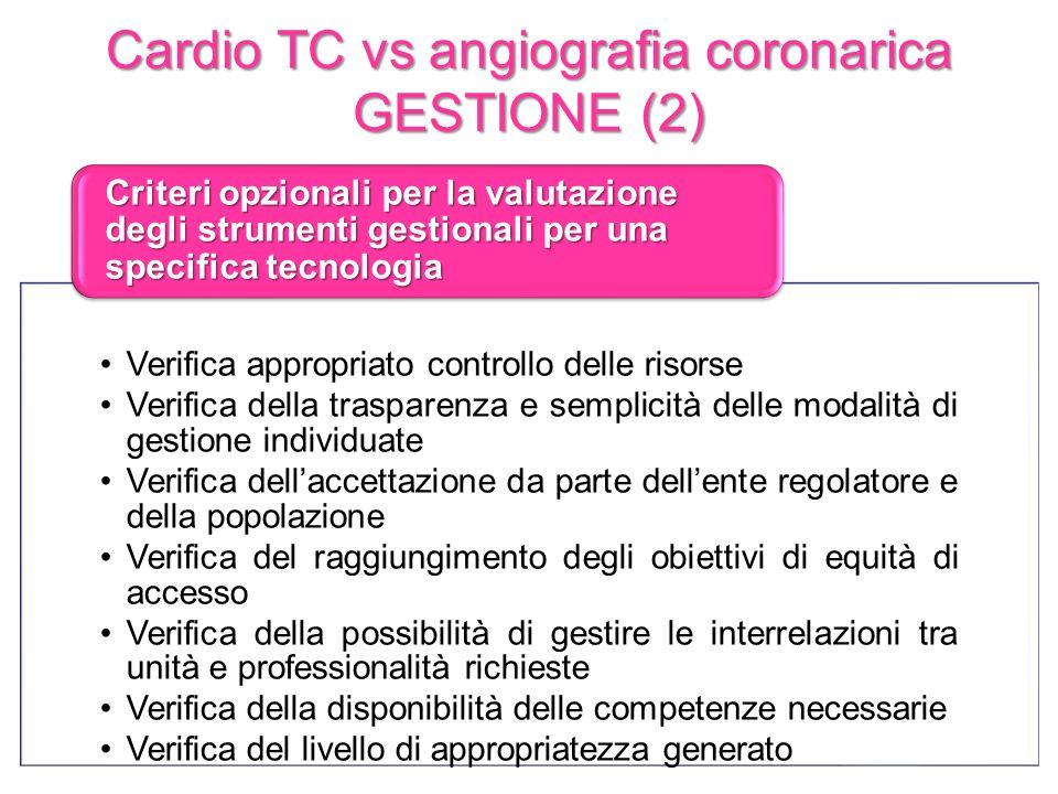 Cardio TC vs angiografia coronarica GESTIONE (2) Verifica appropriato controllo delle risorse Verifica della trasparenza e semplicità delle modalità d