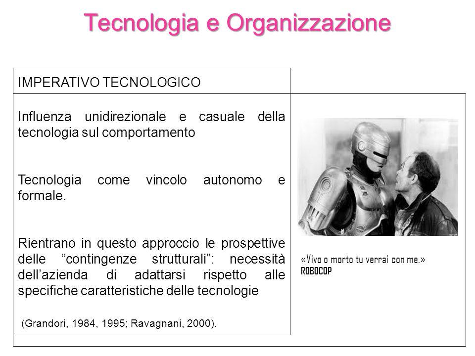 Tecnologia e Organizzazione IMPERATIVO TECNOLOGICO Influenza unidirezionale e casuale della tecnologia sul comportamento Tecnologia come vincolo auton