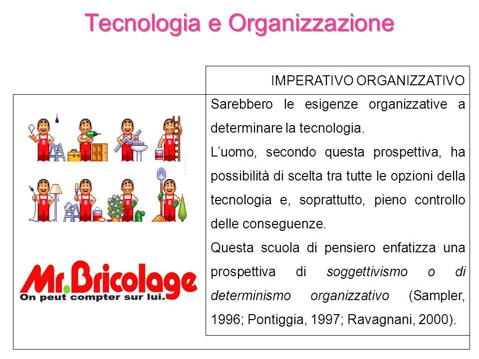 Tecnologia e Organizzazione IMPERATIVO ORGANIZZATIVO Sarebbero le esigenze organizzative a determinare la tecnologia. Luomo, secondo questa prospettiv