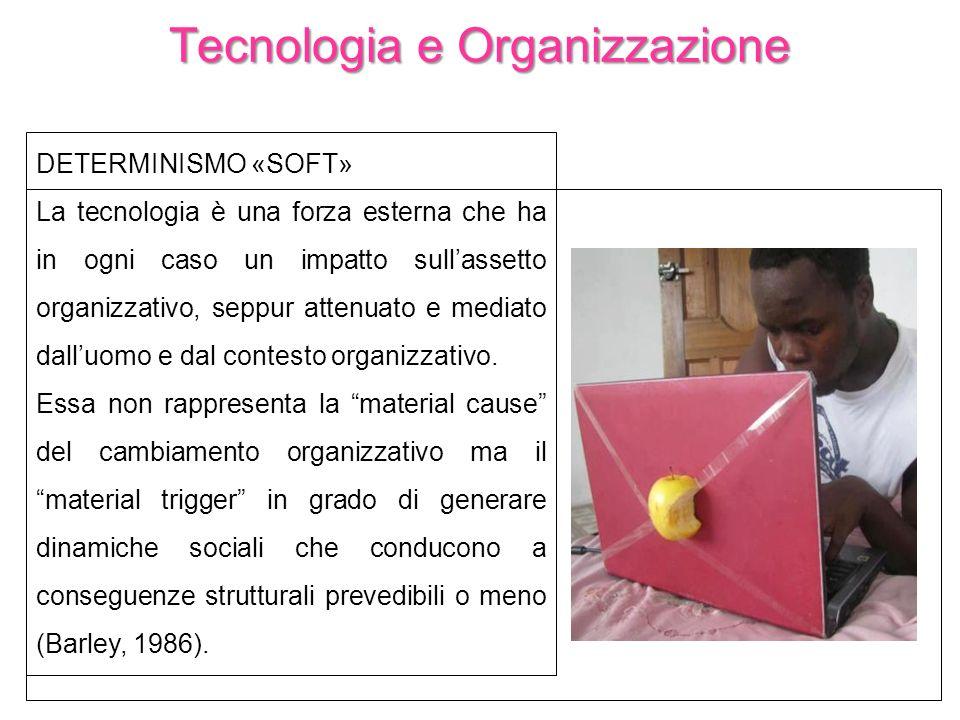 Tecnologia e Organizzazione DETERMINISMO «SOFT» La tecnologia è una forza esterna che ha in ogni caso un impatto sullassetto organizzativo, seppur att