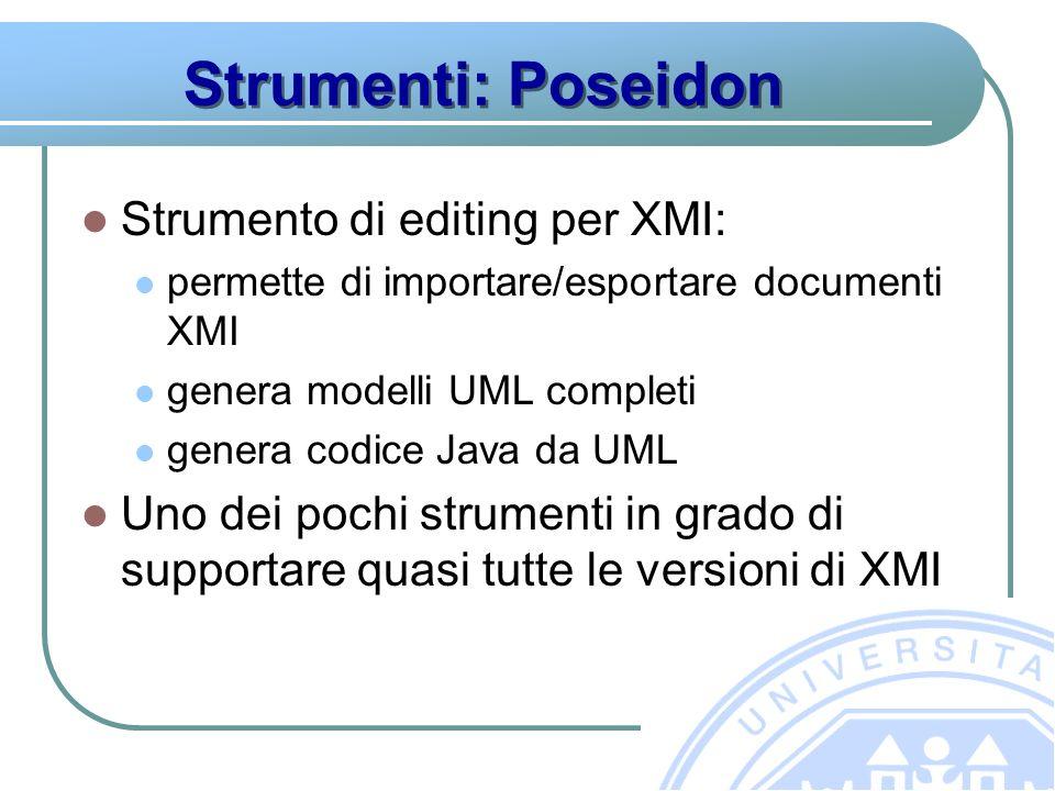 Strumenti: Poseidon Strumento di editing per XMI: permette di importare/esportare documenti XMI genera modelli UML completi genera codice Java da UML Uno dei pochi strumenti in grado di supportare quasi tutte le versioni di XMI