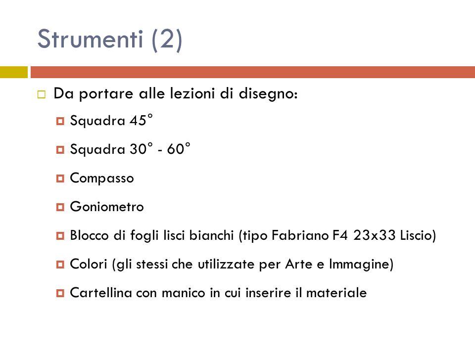 Strumenti (2) Da portare alle lezioni di disegno: Squadra 45° Squadra 30° - 60° Compasso Goniometro Blocco di fogli lisci bianchi (tipo Fabriano F4 23