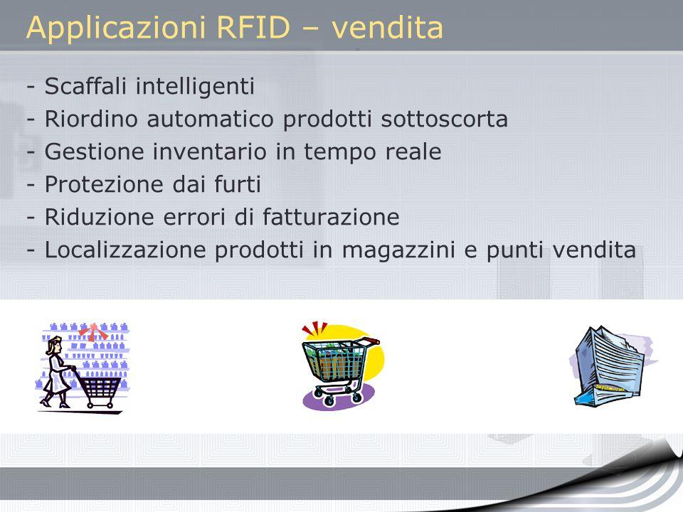 Applicazioni RFID – vendita - Scaffali intelligenti - Riordino automatico prodotti sottoscorta - Gestione inventario in tempo reale - Protezione dai f