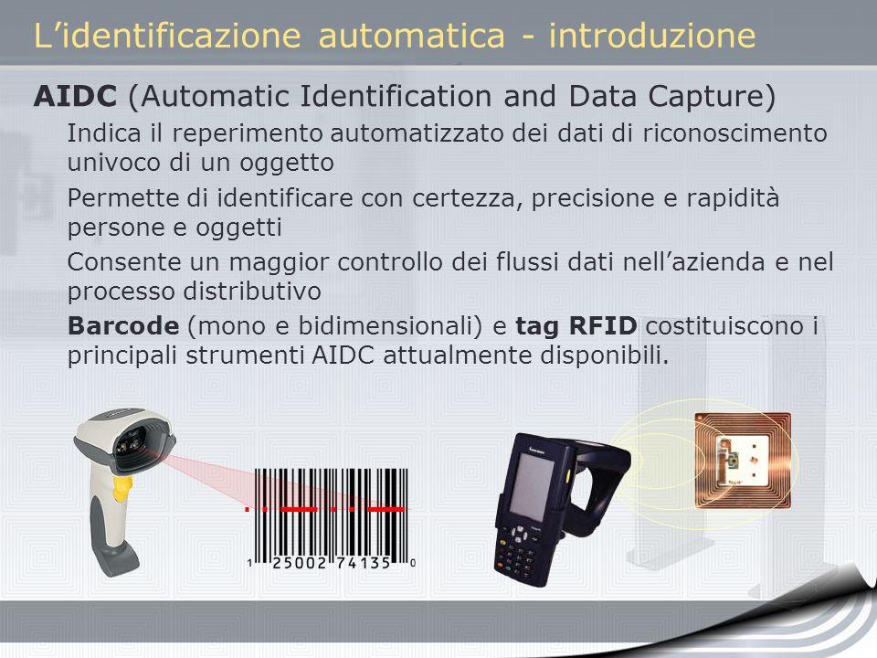 Lidentificazione automatica - introduzione AIDC (Automatic Identification and Data Capture) Indica il reperimento automatizzato dei dati di riconoscim