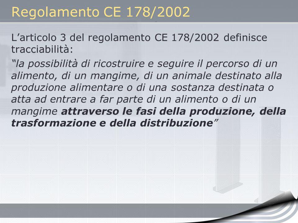 Regolamento CE 178/2002 Larticolo 3 del regolamento CE 178/2002 definisce tracciabilità: la possibilità di ricostruire e seguire il percorso di un ali