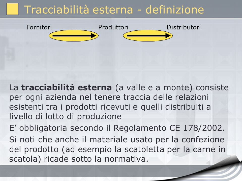 La tracciabilità esterna (a valle e a monte) consiste per ogni azienda nel tenere traccia delle relazioni esistenti tra i prodotti ricevuti e quelli d