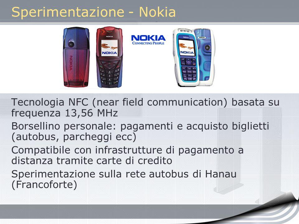 Sperimentazione - Nokia Tecnologia NFC (near field communication) basata su frequenza 13,56 MHz Borsellino personale: pagamenti e acquisto biglietti (