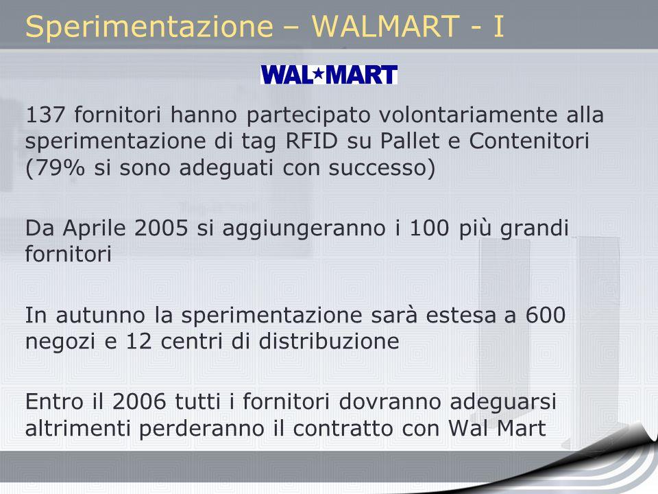 Sperimentazione – WALMART - I 137 fornitori hanno partecipato volontariamente alla sperimentazione di tag RFID su Pallet e Contenitori (79% si sono ad