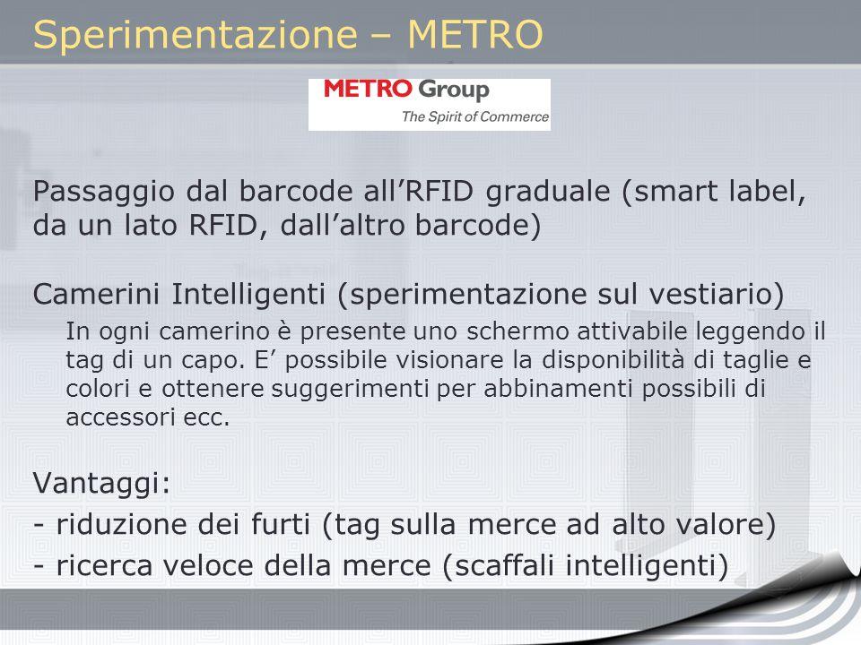 Sperimentazione – METRO Passaggio dal barcode allRFID graduale (smart label, da un lato RFID, dallaltro barcode) Camerini Intelligenti (sperimentazion