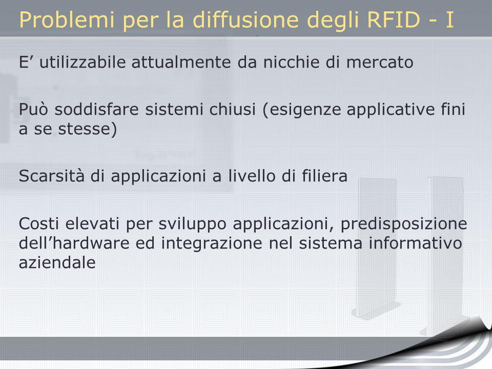 Problemi per la diffusione degli RFID - I E utilizzabile attualmente da nicchie di mercato Può soddisfare sistemi chiusi (esigenze applicative fini a