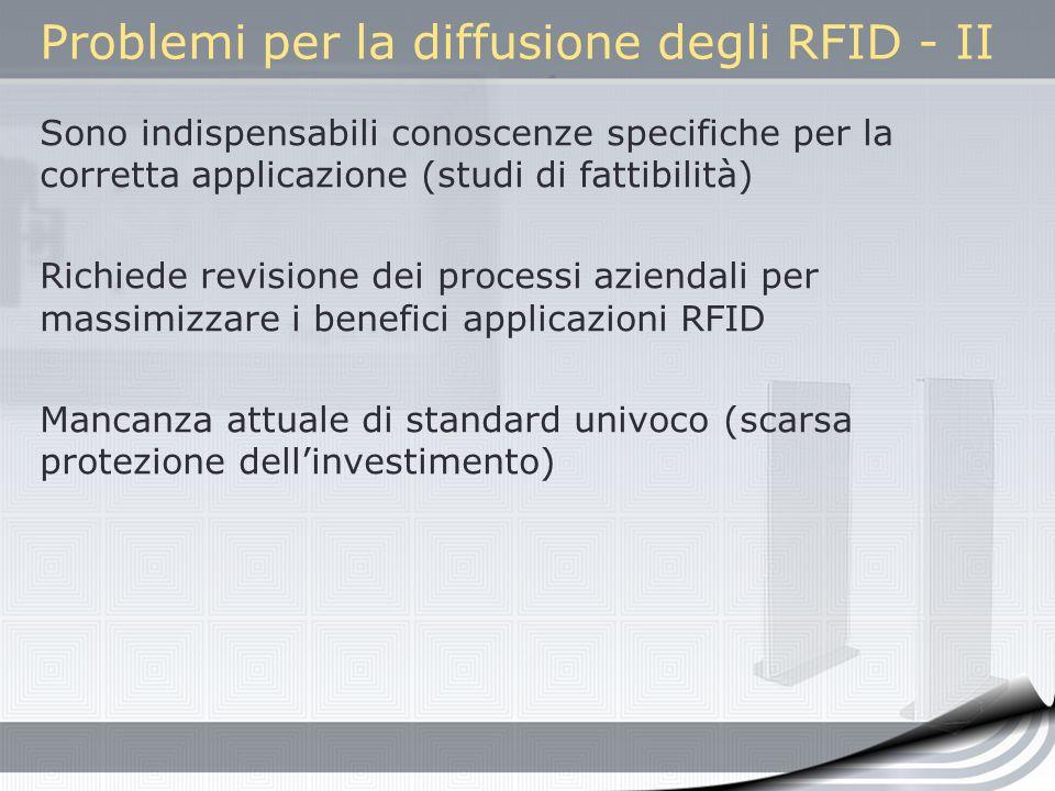 Problemi per la diffusione degli RFID - II Sono indispensabili conoscenze specifiche per la corretta applicazione (studi di fattibilità) Richiede revi