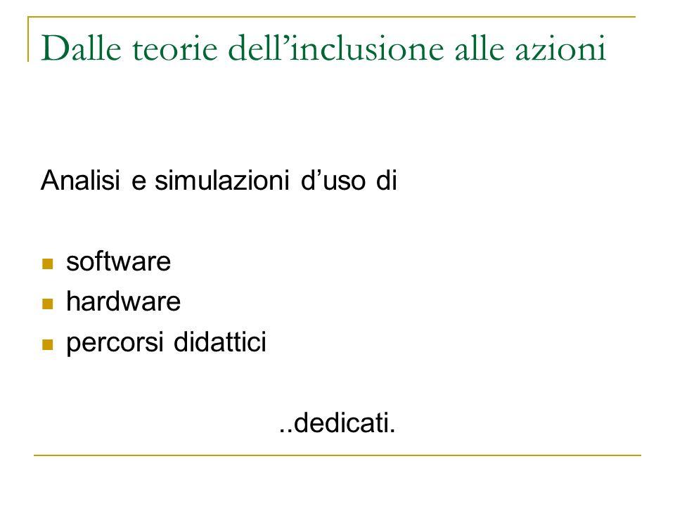 Dalle teorie dellinclusione alle azioni Analisi e simulazioni duso di software hardware percorsi didattici..dedicati.