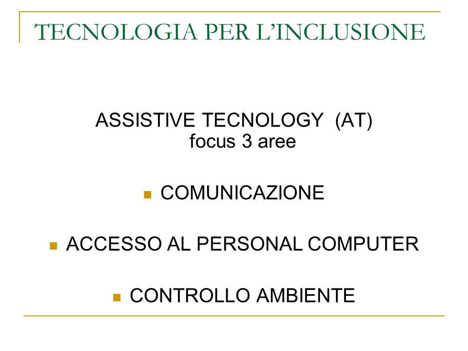 TECNOLOGIA PER LINCLUSIONE ASSISTIVE TECNOLOGY (AT) focus 3 aree COMUNICAZIONE ACCESSO AL PERSONAL COMPUTER CONTROLLO AMBIENTE