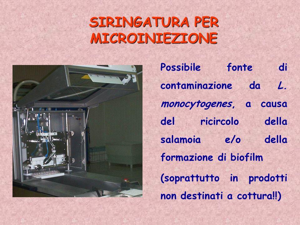SIRINGATURA PER MICROINIEZIONE Possibile fonte di contaminazione da L. monocytogenes, a causa del ricircolo della salamoia e/o della formazione di bio