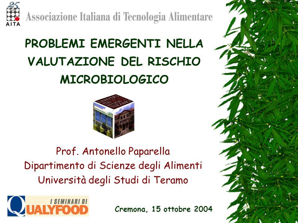 PROBLEMI EMERGENTI NELLA VALUTAZIONE DEL RISCHIO MICROBIOLOGICO Prof. Antonello Paparella Dipartimento di Scienze degli Alimenti Università degli Stud