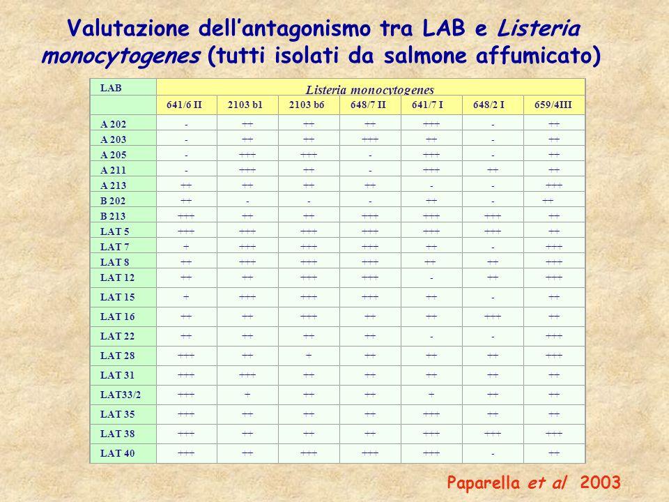 LAB Listeria monocytogenes 641/6 II2103 b12103 b6648/7 II641/7 I648/2 I659/4III A 202-++ +++-++ A 203-++ +++++- A 205-+++ - -++ A 211-+++++-+++++ A 21