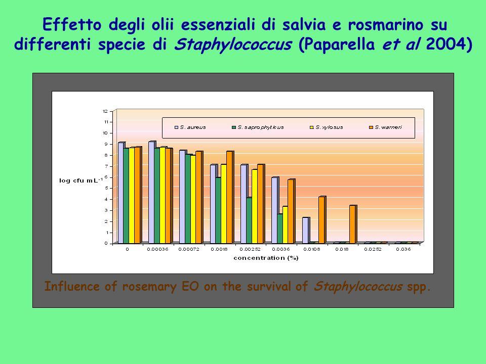 Effetto degli olii essenziali di salvia e rosmarino su differenti specie di Staphylococcus (Paparella et al 2004) Influence of rosemary EO on the surv