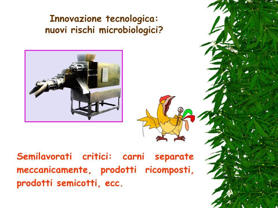 Innovazione tecnologica: nuovi rischi microbiologici? Semilavorati critici: carni separate meccanicamente, prodotti ricomposti, prodotti semicotti, ec