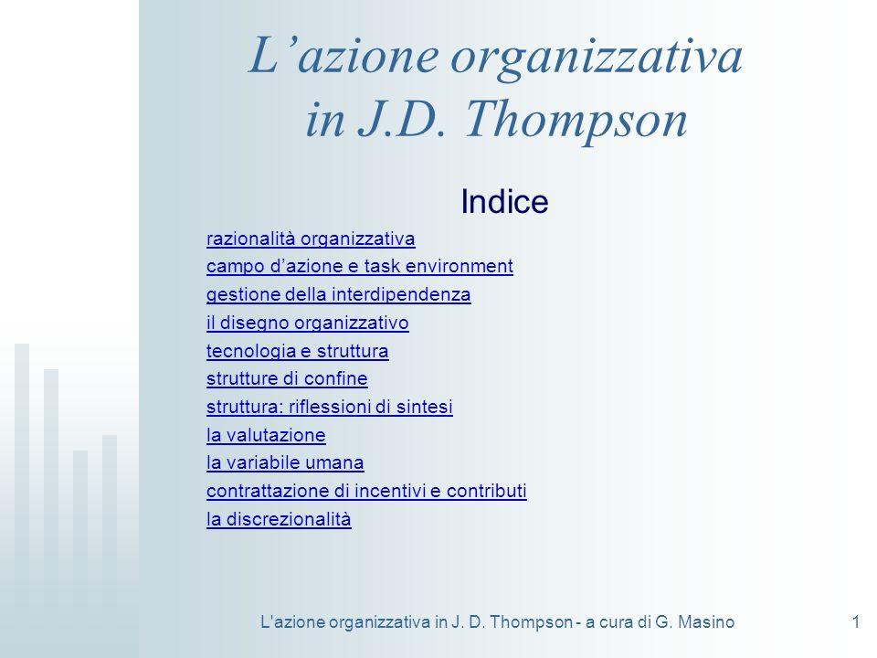 L'azione organizzativa in J. D. Thompson - a cura di G. Masino1 Lazione organizzativa in J.D. Thompson Indice razionalità organizzativa campo dazione
