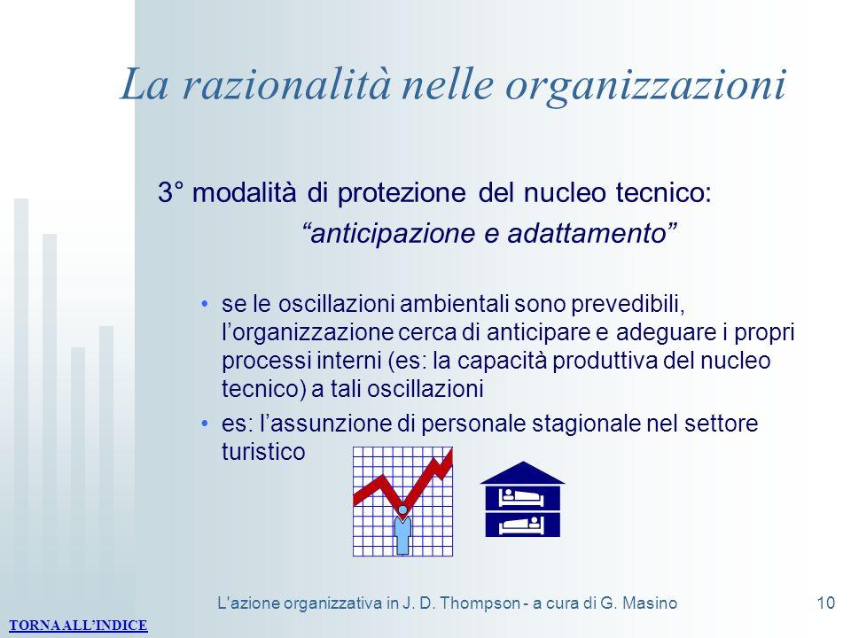 L'azione organizzativa in J. D. Thompson - a cura di G. Masino10 La razionalità nelle organizzazioni 3° modalità di protezione del nucleo tecnico: ant