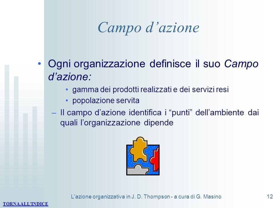 L'azione organizzativa in J. D. Thompson - a cura di G. Masino12 Campo dazione Ogni organizzazione definisce il suo Campo dazione: gamma dei prodotti
