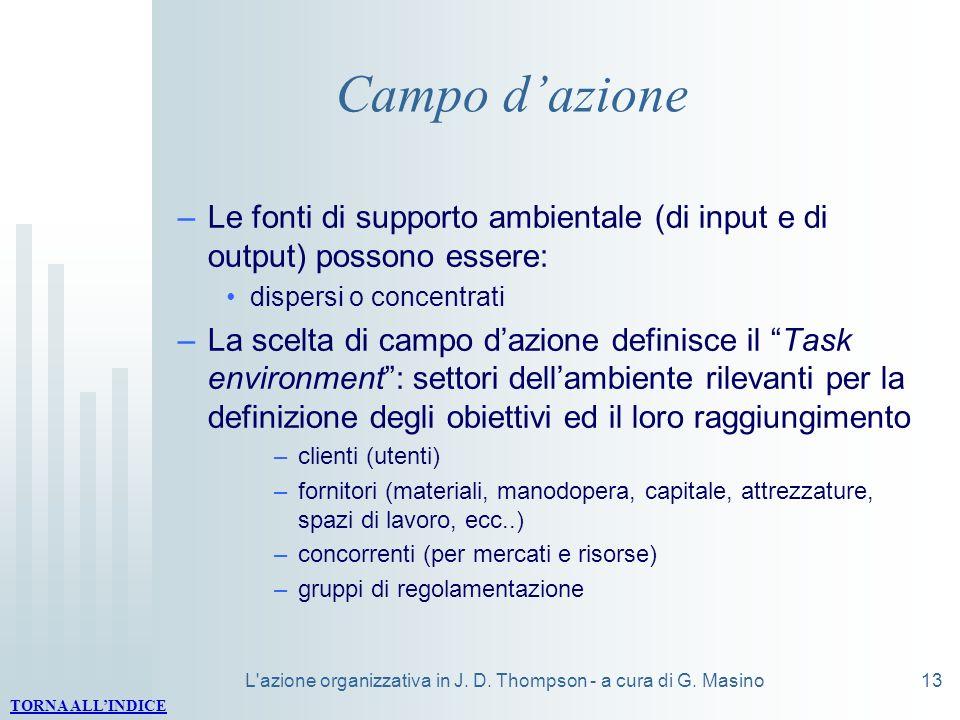 L'azione organizzativa in J. D. Thompson - a cura di G. Masino13 Campo dazione –Le fonti di supporto ambientale (di input e di output) possono essere: